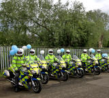 Edinburgh Taxi Trde Children's Outing, 2012  -  Police Motor Cycles ready to set off at the start of the Outing