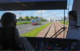 Edinburgh Tram Service  -  The tram stops at Edinburgh Park Stationonon its way to Edinburgh Airport  -  June 2014