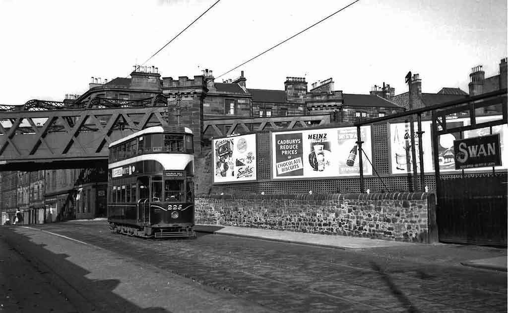 Edinburgh Tram  -  Passing under the railway bridge at  Bonnington Toll  -  This photo may have been taken around the early-1950s
