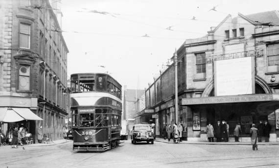 Tram at the Foot of Leith Walk  beside the Palace Cinema  -  travelling towards Newhaven and Granton