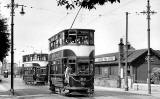 Looking down on a tram travelling up Granton Road, and Granton Harbour  -  1951
