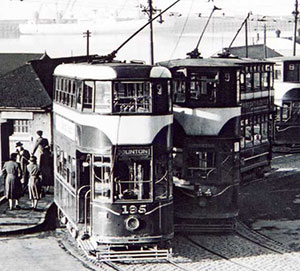 Trams at Granton Square  -  zoom-in