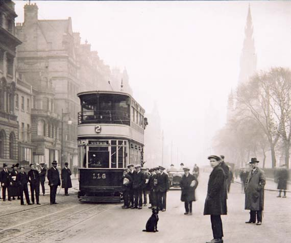 Princes Street  -  Looking east from the foot of the Mound towards the Scott Monument  -  Tram 116