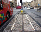 The last remaining section of cable car track in Edinburgh - at the west end of Waterloo Place