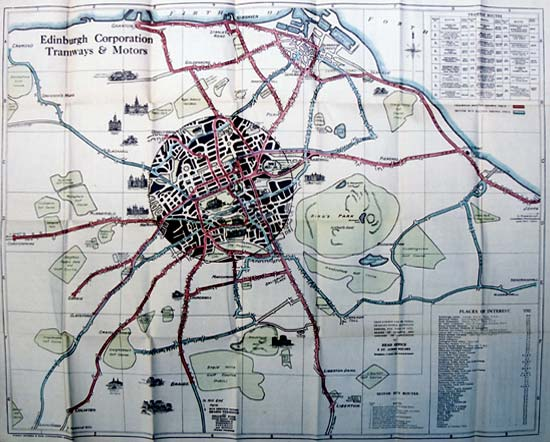 Edinburgh Corporation Transport Department  -  Map of Tram and Bus Routes in 1926