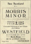 Advertisement from the back of an Edinburgh Corporation Transport Department  map from the early 1930s  -  Morris Minor for £125