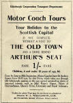 Advertisement on the back of an Edinburgh Corporation Transport Department map from the early-1930s  -  Motor Coach Tours