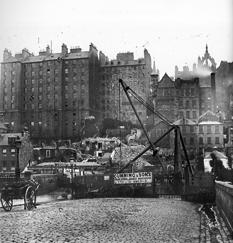 Waverley Bridge - Tunnel under construction and Edinburgh Old Town - Photograph by Begbie