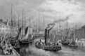 Engraving in 'Modern Athens'  -  Leith Harbour from the Piet