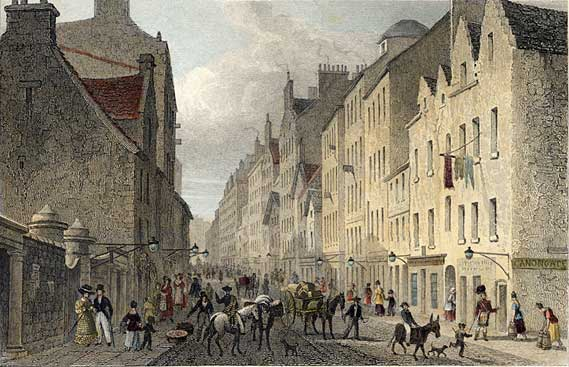 Engraving from 'Modern Athens'  -  hand-coloured  -  The Canongate