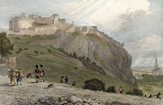 Engraving from 'Modern Athens'  -  hand-coloured  -  Edinburgh Castle from Ramsay Garden