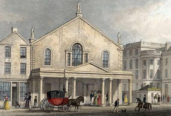 Engraing from 'Modern Athens'  -  hand-coloured  -  The Theatre Royal