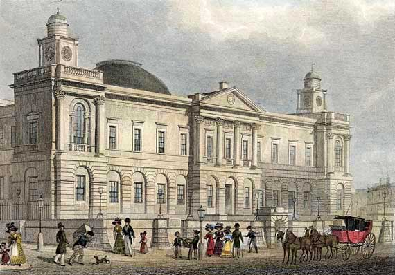 Engraving in 'Modern Athens'  -  hand-coloured  -  Register House