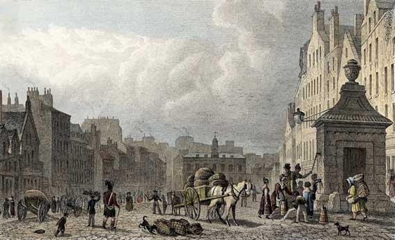 Engraving in 'Modern Athens'  -  hand-coloured  -  The Grassmarket