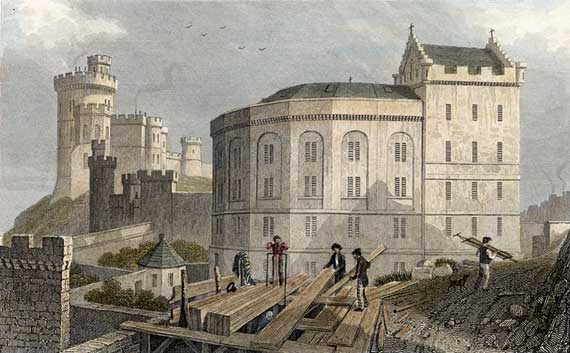 Engraving from 'Modern Athens'  -  hand coloured  -  The Bridewell