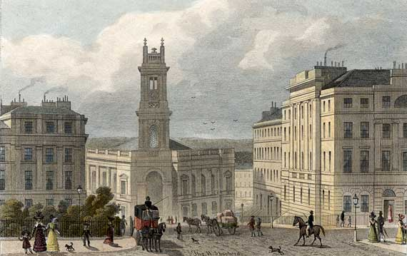 Engraving from 'Modern Athens'  -  hand-coloured  -  St Stephen's Church