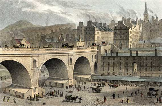 Engraving from 'Modern Athens'  -  hand-coloured  -  Waverley Market