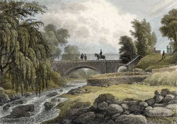 Engraving from 'Modern Athens'  -  hand-coloured  -  Bridge over the Water of Leith at Stockbridge