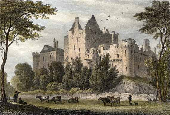 Engraving from 'Modern Athens'  -  hand-coloured  -  Craigmillar Castle