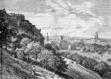 Engraving from 'Old & New Edinburgh'  -  Princes Street Gardens from the Mound