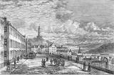 Engraving from 'Old & New Edinburgh'  -  Looking east along Princes Street towards the Nelson Monument on Calton Hill