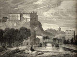 Engraving in 'Old & New Edinburgh'  -  Edinburgh Castle from Port Hopetoun  -  1825