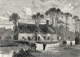 Engraving of old houses at Echo Bank, Newington