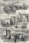 Engraving from Old & New Edinburgh  -   Old Saughton Bridge, Old Saughton House, Barnton House and Cramond Church