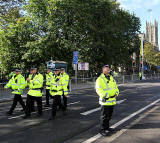 Princes Street, on the day of the visit by Pope Benedict XVI, September 16, 2010  -  Police arriving before the procession