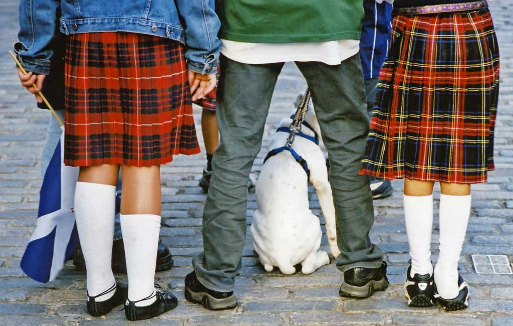 Edinburgh Festival Visitors  -  Kilts, Flag and Dog