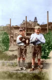 Boys with hens on Buttercup Poultry  Farm, Clermiston, Edinburgh - 1935