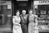 Laurie Thompson's Mum and her Friend, and 'Jimmy the Milkman' standing outside the Newsagent, at Restalrig Road South