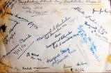 Signatures on the back of a photograph of Class 1J at Torphichen Street Day Institute, Edinburgh.  Photo taken 1954.