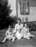 The Welsh famly outside their prefab at 23 West Pilton Path  -   photo probably taken in summer 1961