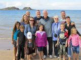 Jeanette Boon and her family on Yellowcraigs Beach, North Berwick, East Lothian, Scotland  -  July 2010