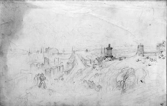 DO Hill  -  View of Edinburgh from Calton Hill  -  sketch in pencil