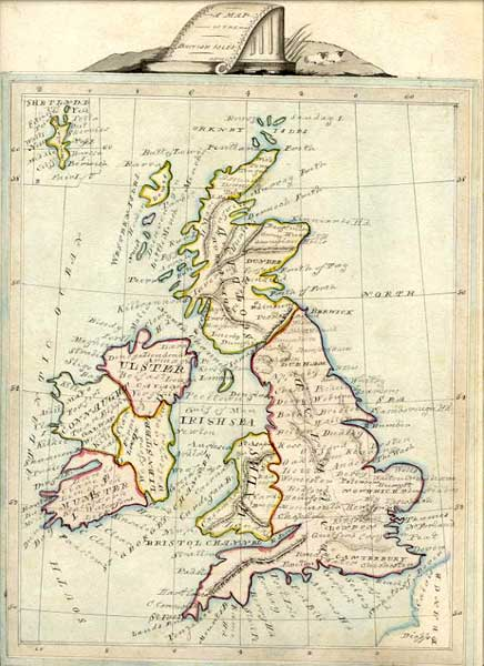 Map of the British Isles  -  1844