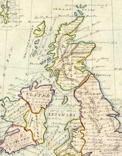 Detail from a map of the British Isles  -  1844