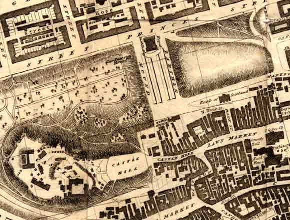 Central Edinburgh  -  The National Galleries and Edinburgh Castle  -  1830 map