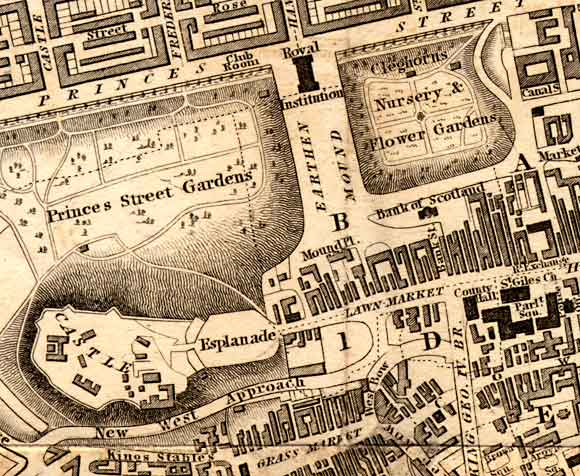 Central Edinburgh  -  The National Galleries and Edinburgh Castle  -  1840 map
