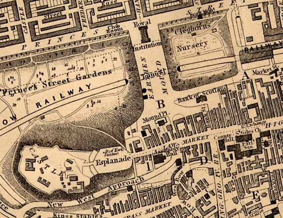 Central Edinburgh  -  The National Galleries and Edinburgh Castle -  1850 map