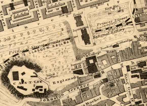 Central Edinburgh  -  The National Galleries and Edinburgh Castle  -  1860 map