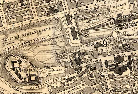 Central Edinburgh  -  Edinburgh Castle and the National Galleries  -  1870 Map