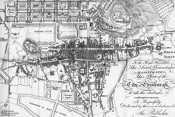 Edinburgh Old Town and New Town - Map from an 1817 Edinburgh Guidebook.