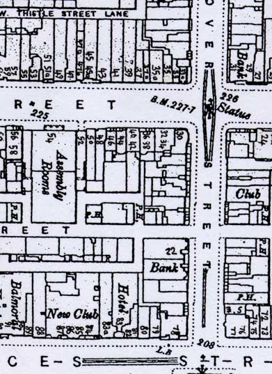 Map of Hanover Street and Frederick Street showing Photographic Studios