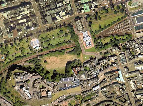 Aerial View of Central Edinburgh  -  incliding Einburgh Castle, Princes Street Gardens and the National Galleries of Scotland