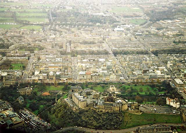 Looking down on Edinburgh Castle and the New Town of Edinburgh