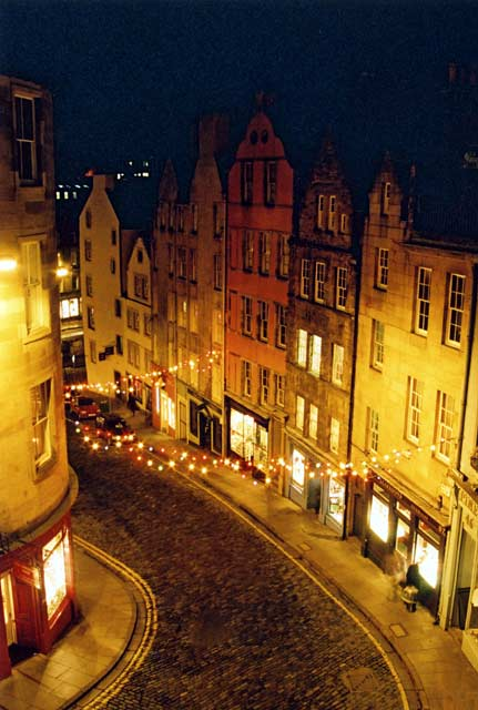 Looking down on West Bow at the foot of Victoria St, from Victoria Terrace