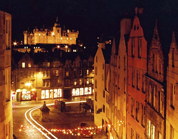 West Bow, the Grassmarket and George Heirot's School (floodlit at top of picture)
