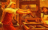 A picture of Benjamin Franklin using a printing press  -  on the wall of the Cafe Royal, Edinburgh